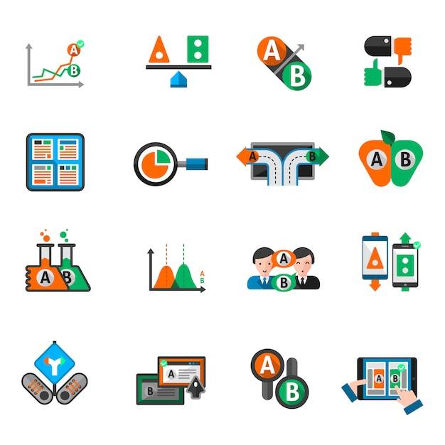 A-b testing icons set Free Vector