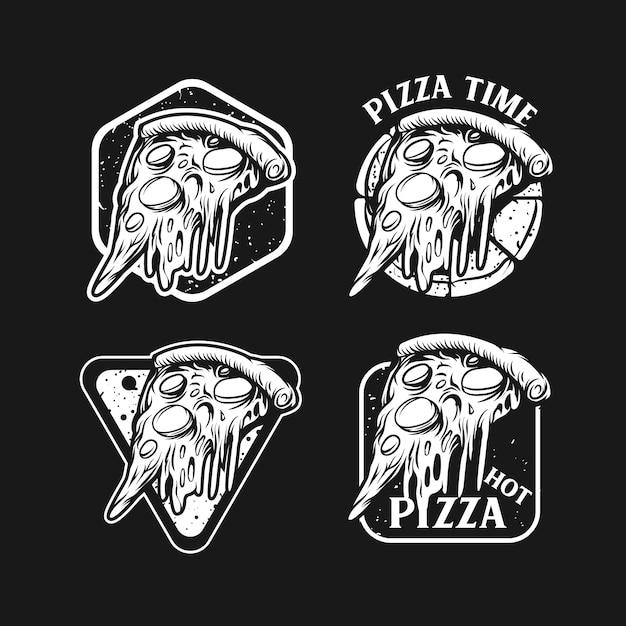 B&w pizza emblem set in black Premium Vector