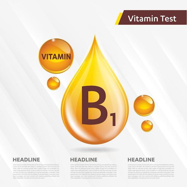 ビタミンb1アイコンコレクションベクトルイラストゴールデンドロップ Premiumベクター