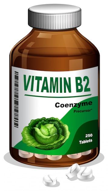Бутылка витамина b2 Бесплатные векторы