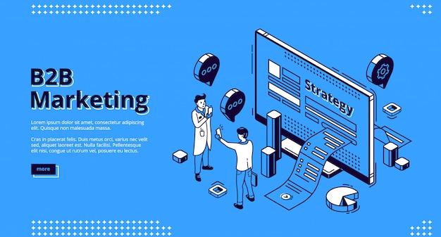 B2b маркетинговая стратегия изометрической веб-баннер Бесплатные векторы
