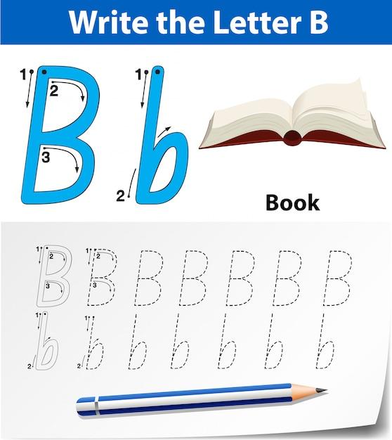 アルファベットワークシートをトレースする文字b Premiumベクター