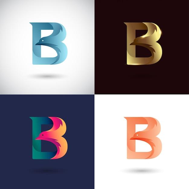 Креативный дизайн логотипа буква b Premium векторы