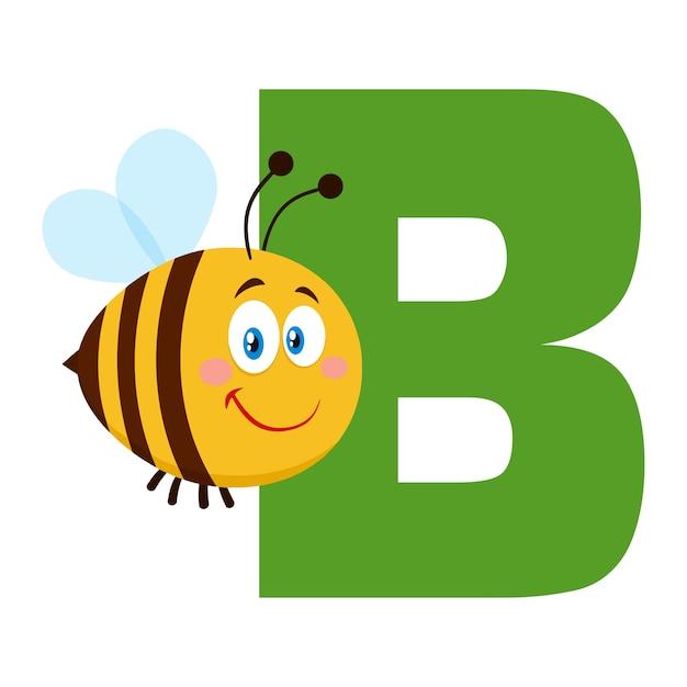 かわいい蜂の漫画のキャラクター蜂手紙bの上を飛んで Premiumベクター
