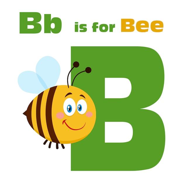 蜂の漫画のキャラクター文字bとテキストの上を飛んで蜂。イラストフラット絶縁 Premiumベクター