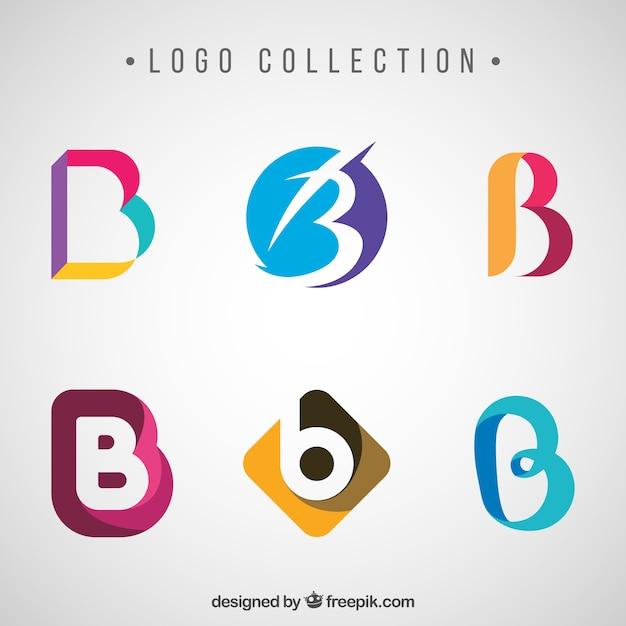 文字bで抽象的な色のロゴのコレクション 無料ベクター