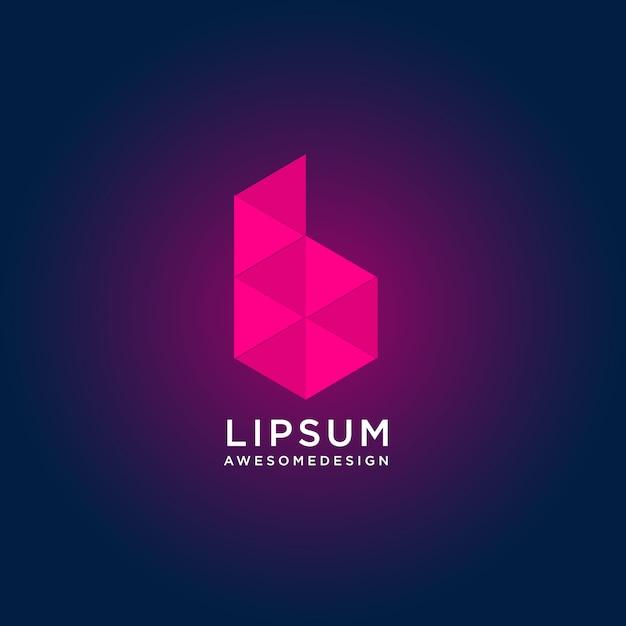 低ポリスタイルと抽象的なカラフルな文字bロゴデザイン Premiumベクター