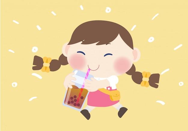 幸せなかわいい女の子ドリンクb麦茶飲料 Premiumベクター
