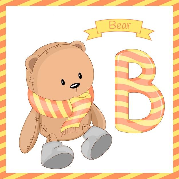 クマの漫画とアルファベットb Premiumベクター