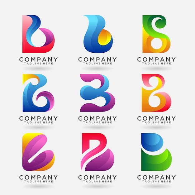 手紙bモダンなロゴのテンプレートデザインのコレクション Premiumベクター