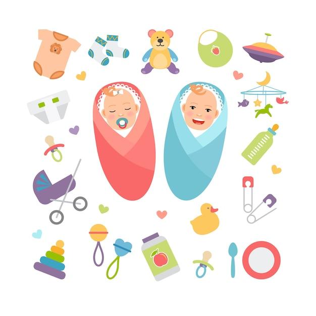 Neonati e prodotti per l'infanzia. ragazza e ragazzo, accessorio per bambini. illustrazione vettoriale Vettore gratuito