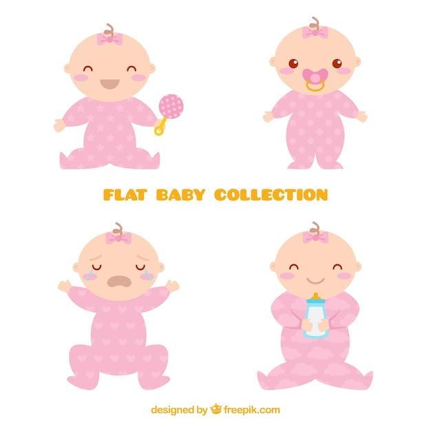 Babies collection in flat style