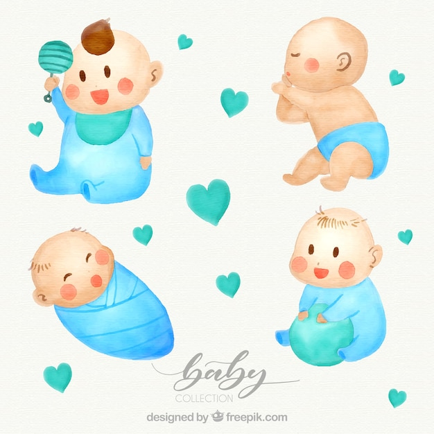 Babies collection in watercolor style Free Vector