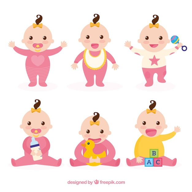 Babies collection with different poses Free Vector