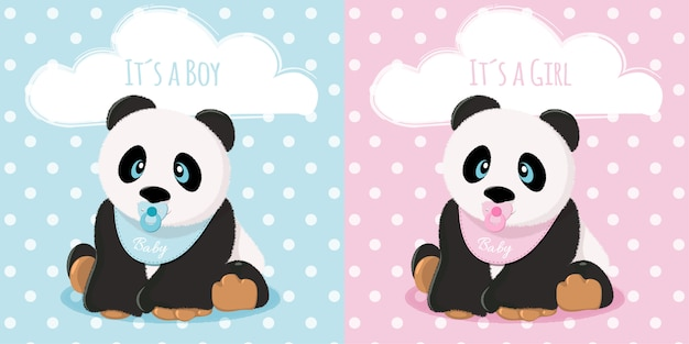 Babies panda boy and girl Premium Vector