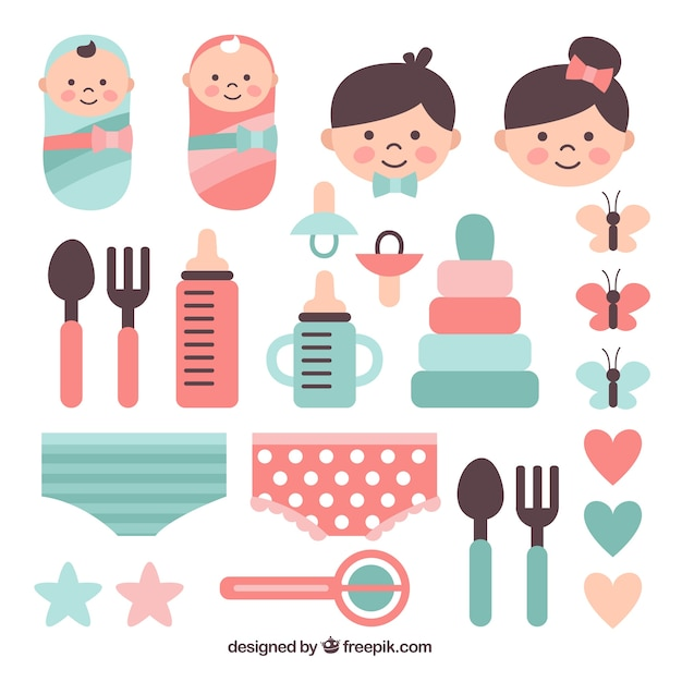 Babies and parents with assortment of items Free Vector