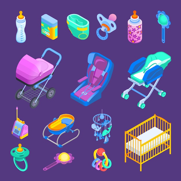 Baby  accessories isometric set Free Vector
