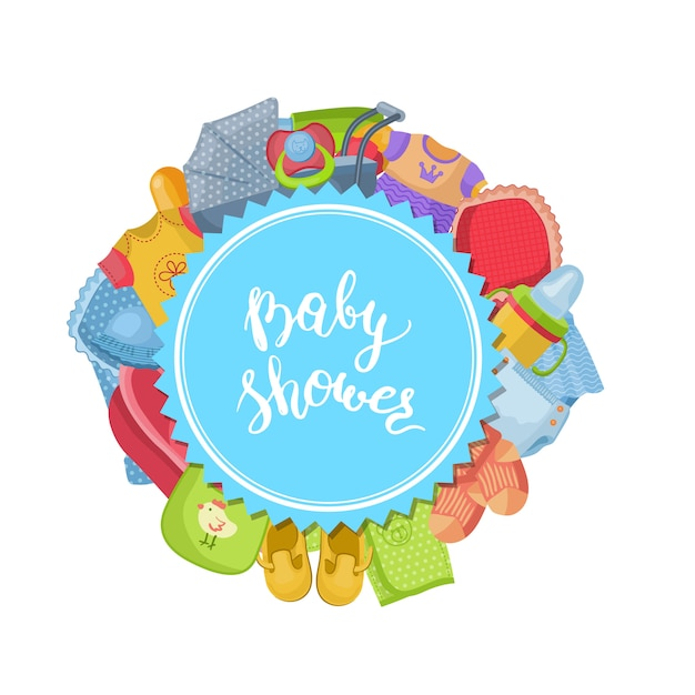 Baby accessories in round shape and lettering Premium Vector