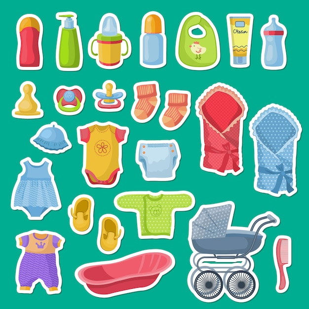Baby accessories stickers isolated on green Premium Vector