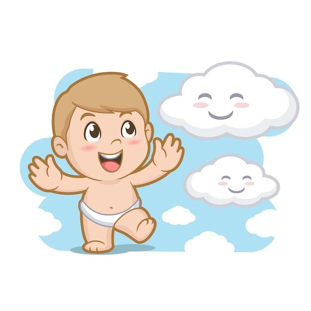 赤ちゃんと雲 Premiumベクター
