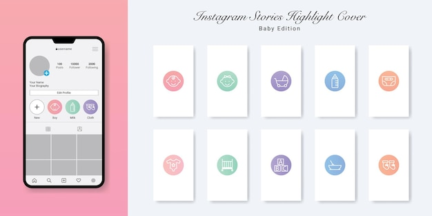 Baby And Kid Instagram Stories Highlight Covers Design 프리미엄 벡터