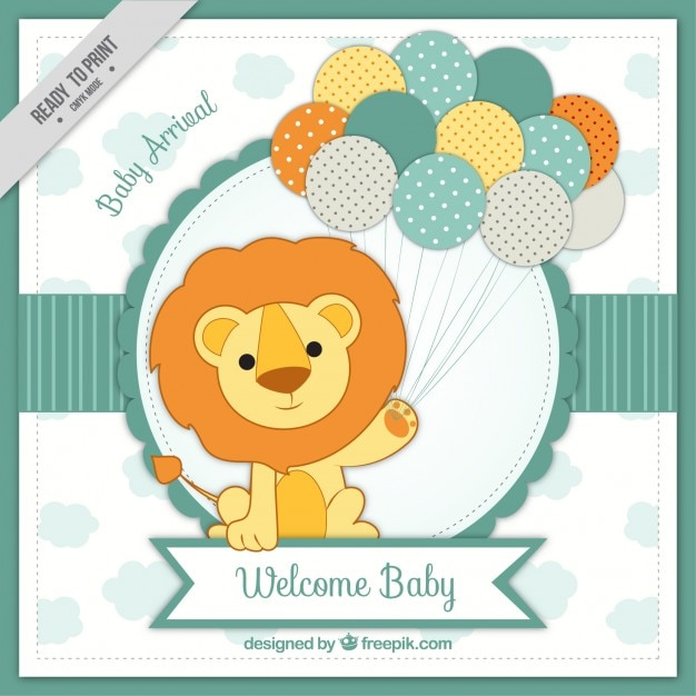 Baby arrival card with lion Free Vector