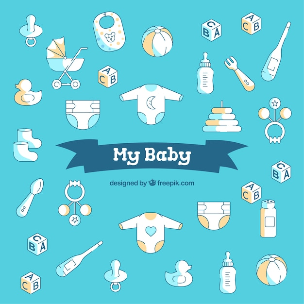 Baby background in flat style