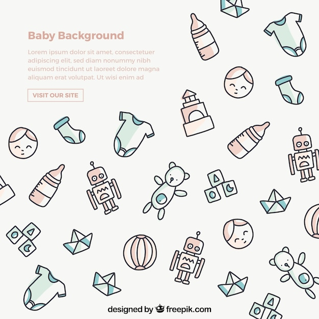 Baby background in hand drawn style