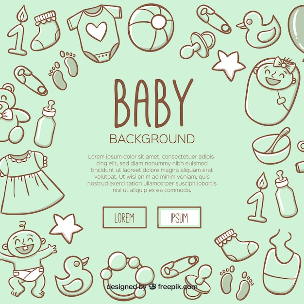 Baby background in hand drawn style Free Vector