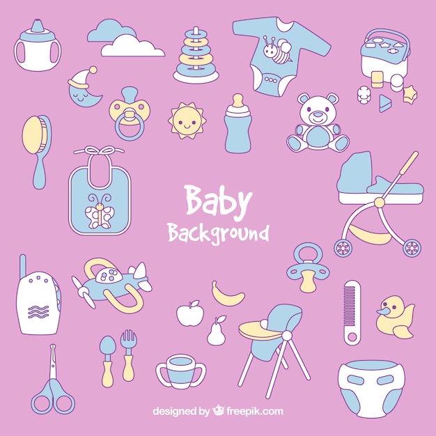 Baby background with cute elements