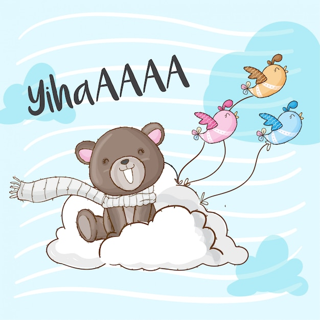 Baby bear on cloud hand drawn animal Premium Vector