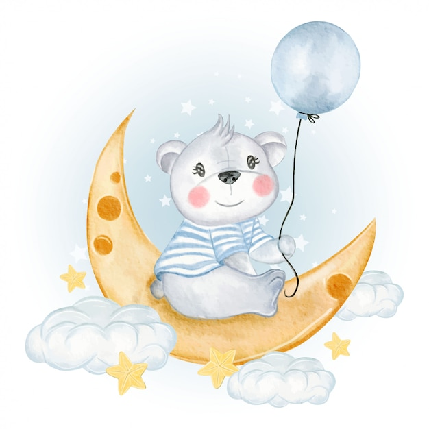 Baby bear holding balloon on moon clouds Premium Vector
