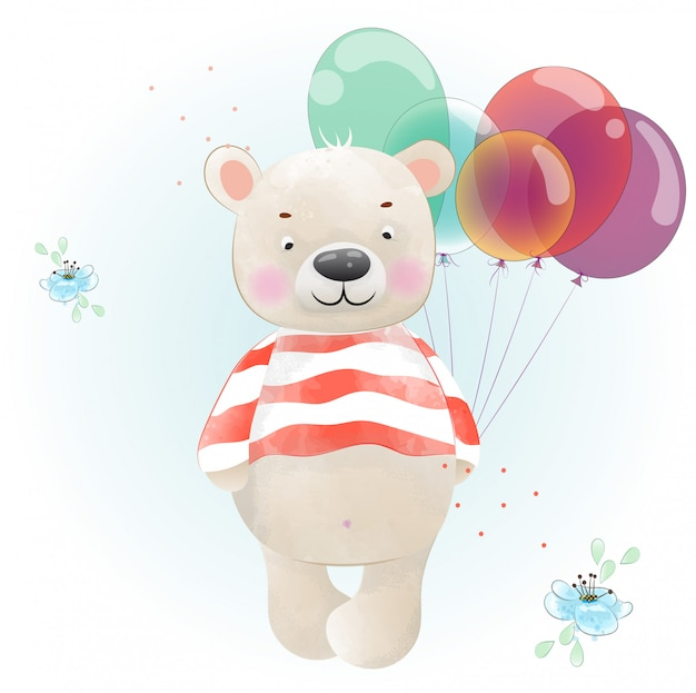 Baby bear is colored with watercolor Premium Vector