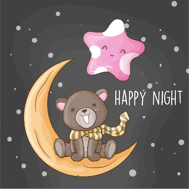 Baby bear on the moon hand drawn animal Premium Vector