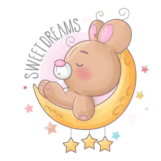 별과 잠자는 아기 곰 프리미엄 벡터