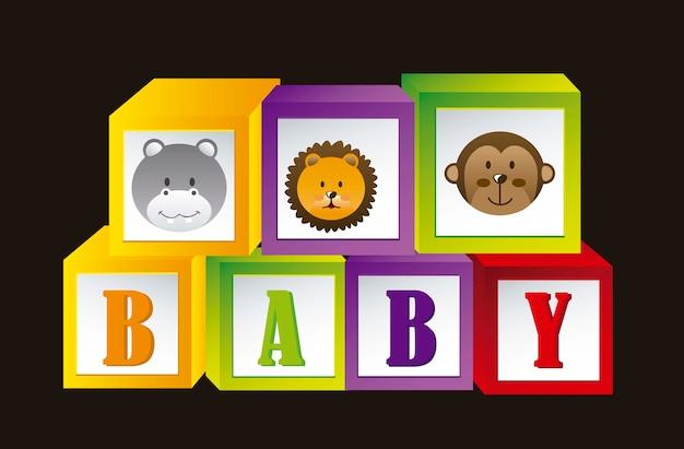 Детские блоки с животными и буквы векторные иллюстрации Premium векторы