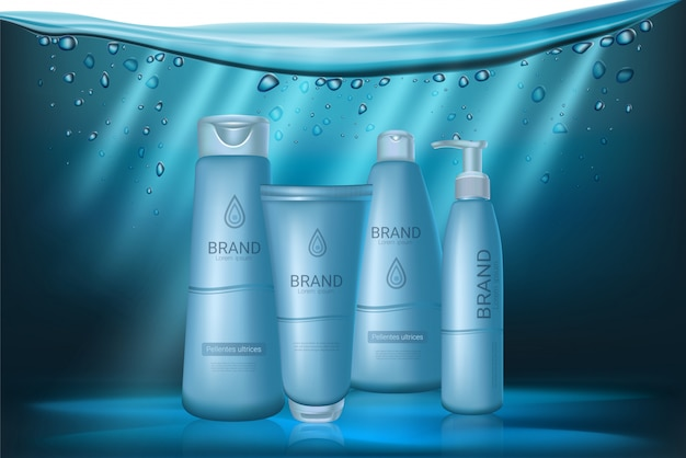Baby blue realistic cosmetics bottles set. Premium Vector