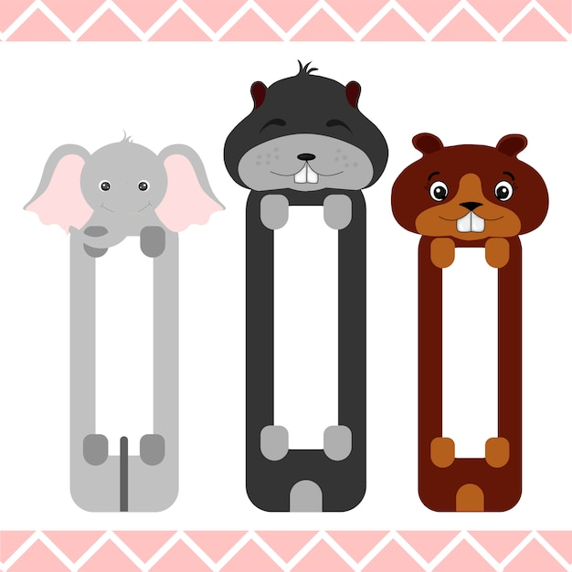 Baby bookmarks with cute animals Premium Vector