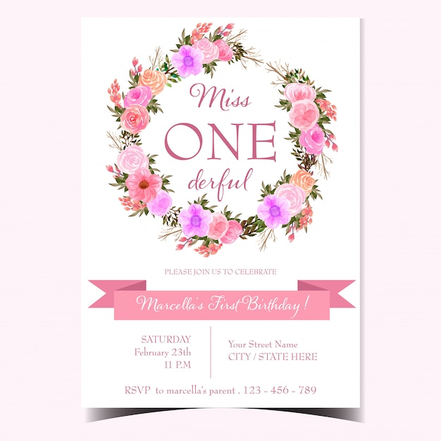 Baby born announcement with floral wreath Premium Vector
