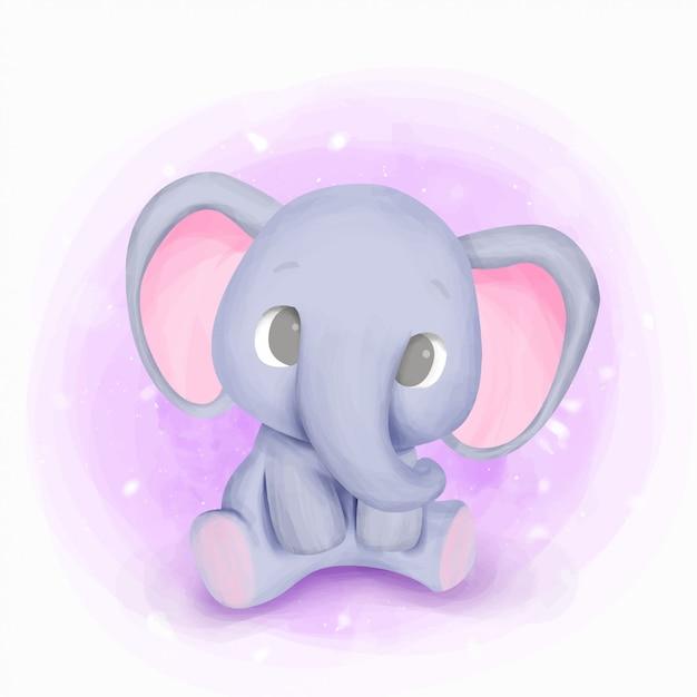 Baby born elephant nursery illustration Premium Vector