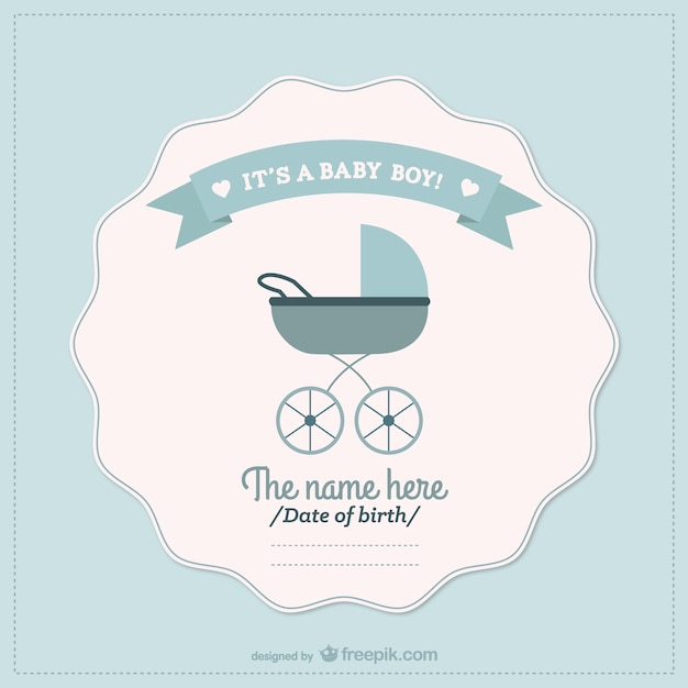 Baby boy announcement card Free Vector