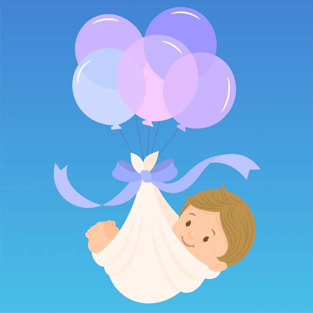Baby boy arrival announcement card Premium Vector