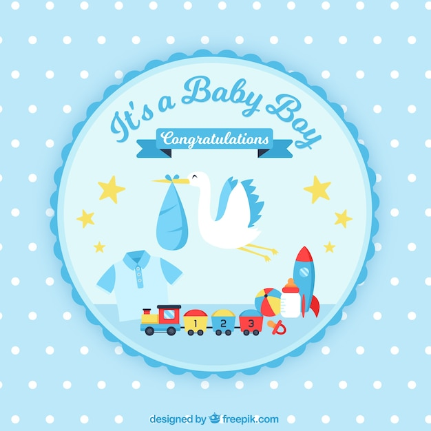 Baby boy background in flat style Free Vector
