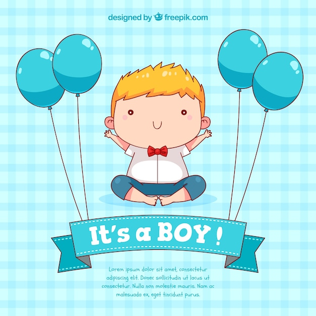 Baby boy background in hand drawn style Free Vector
