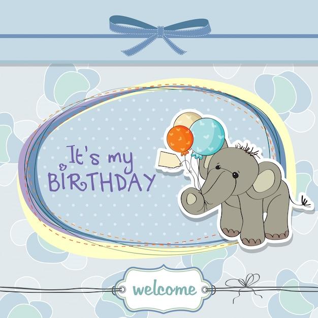 Baby boy birthday card with elephant Premium Vector