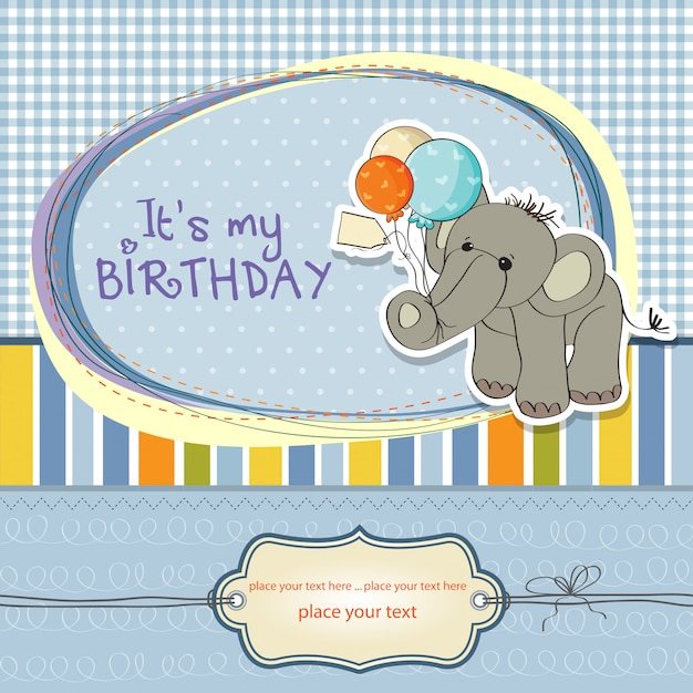 Baby boy birthday card with elephant Premium Vector