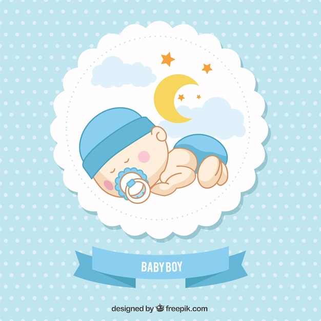 Baby boy card Free Vector