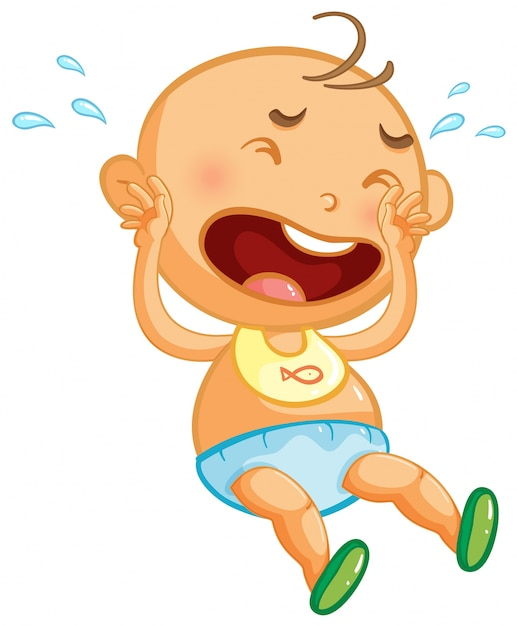 Baby boy crying on white background Free Vector