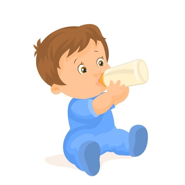 Мальчик пьет из бутылки Premium векторы