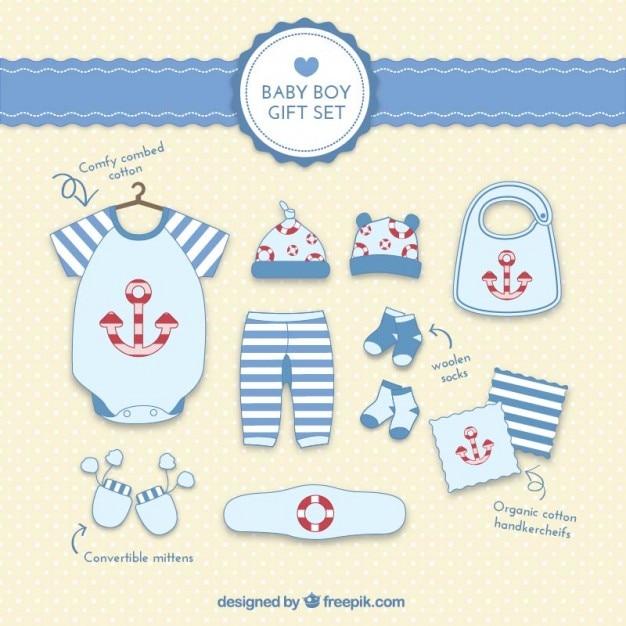 Baby Gift Vector : Baby boy gift set vector free download